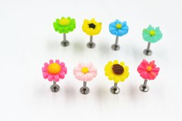 Lip barbeLL online shopping - Free shippment LOT50pcs Body Jewelry g Flowers Lip Labret Ring Bar Lip Piercing Helix Bar Barbells Cartilage Piercing G