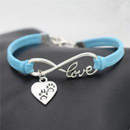 $enCountryForm.capitalKeyWord Australia - Boho Punk Infinity Love Puppy Cats Dogs Claw Paw Heart Pendant Cuff Bracelet Bangles Wome Men Handmade Blue Leather Suede Charm Jewelry Gift