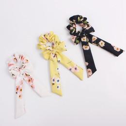 Fashion Hair Scrunchies Australia - Bow Streamers Hair Ring Fashion Ribbon Girl Elastic Hair Bands Scrunchies Horsetail Tie Floral Print Headwear Hair Accessories 100pcs