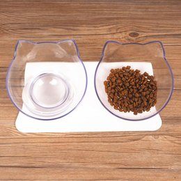 Discount bowl stands - Cat Double Bowls With Raised Stand Pet Cat Transparent Bowl Perfect For Cats And Small Dogs