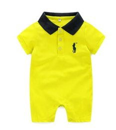 babies clothes for boys UK - 2020 New arrival baby clothes Baby cotton thin Lapel, Short sleeve,embroidery, summer dress for boys and girls 651