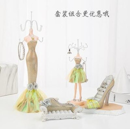 mannequin clothes stand Australia - Fashion 5style Sequins Gown sexy doll Female mannequin clothes Earring Necklace Stand Display Holder Ring storage jewelry rack 1pc C774