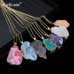 Discount twisted singapore chain - WarBLade New Natural Stone Quartz Pendant Necklace Colorful Irregular Drusy Gold Color Stone Necklaces for Women Jewelry