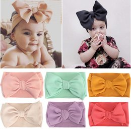 diy baby head bows Australia - New DIY Hair Accessories Big Bow Headband for Girls Toddler Solid Large Hair Bows Baby Elastic Turban Head Wraps Kids Hairband