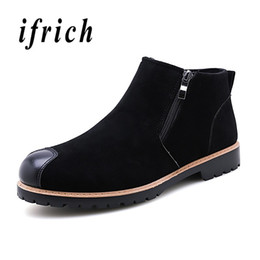 Outdoor Boots Zipper Australia - Designer Ankle Boots for Men Fashion Zipper Boots Mens Winter Shoes Men Black Gray Suede Male Working Outdoor Casual Shoes