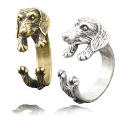 $enCountryForm.capitalKeyWord Australia - Vintage Silver Bronze Lovely Dachshund Dog Wrap Ring For Women Anel Retro Animal Sausage Ring Men Mid Finger Ring Jewelry Chrismats Gift