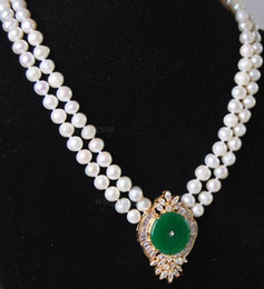 $enCountryForm.capitalKeyWord NZ - necklace Hot sale new Style >>>>>Beautiful 2Rows White Pearl Green Jade Pendant Necklace