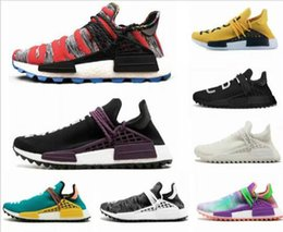 spring fall canvas shoes Australia - 2019 human race Hu trail x pharrell williams men running shoes Solar Pack Afro Holi Blank Canvas mens trainers women sports sneaker r032