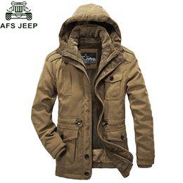 685355e9ee008 Afs Jeep Marca Inverno Parka Homens Jaqueta Grosso Quente Blusão-20 Graus  de Lã Jaqueta Homens Chapéu E Forro Casaco de Inverno Destacável