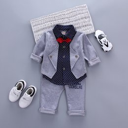 $enCountryForm.capitalKeyWord NZ - Infant Baby Boys Sets Red Plaid Long -Sleeved Shirt +Pants 2pcs Outfits Toddlers Bow Tie Set Clothes Spring