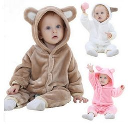 Wholesale 2019 Infant Romper Baby Boys Girls Jumpsuit New born Bebe Clothing Hooded Toddler Baby Clothes Cute Little Bear Romper Baby Costumes