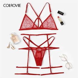9853bcb0ac334 COLROVIE Red Harness Sheer Garter Lingerie Set Women Intimates 2019 Summer See  Through Sexy Bra And Panties Underwear Set
