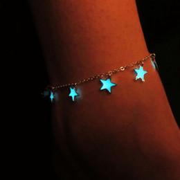 $enCountryForm.capitalKeyWord Australia - Fashion Night Glow Ornament Star Peach Heart Flower Night Glow Bracelet Silver Snake Chain Adjustable Simple Bracelet for Woman Man