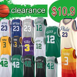 Discount sleeveless shirts mens xl - Philadelphia jersey 76ers Clearance Boston NCAA 12 Rozier 23 Butler 42 Horford 3 Rubio basketall jerseys mens designer t