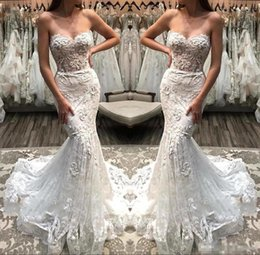 Summer Wedding Pictures Australia - Gorgeous Lace Mermaid Sweetheart Wedding Dresses 2019 Illusion Bodice Appliqued Lace Bridal Gowns Summer Boho Robe de mariee BC1056