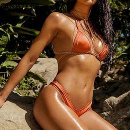 51fa983ac44 QINJOYER Micro Bikini Women Mini Tanga Brazilian Swimsuit Solid Halter  Swimwear String Bikini Set 2019 Bathing Suit Women