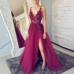 Gray lace front online shopping - Spaghetti Straps V Neck Open Back Long Prom Dress Sleeveless Front Split Tulle Evening Formal Party Dress Vestido De Fiesta