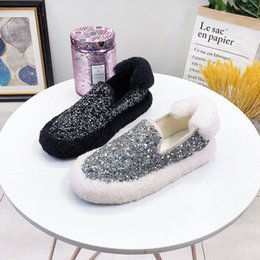 korean woman fashion shoes 2019 - Women's Winter Flat Shoes Fashion Sequins Loafers For Woman Slip on Shoes 2019 Winter Korean Style Female Flats Wom