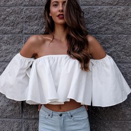 $enCountryForm.capitalKeyWord Australia - Stylish New Spring Summer Women Ladies Flare Sleeve Off Shoulder Solid Tank Shirts Crop Tops Cropped Pullovers Blouse Costume