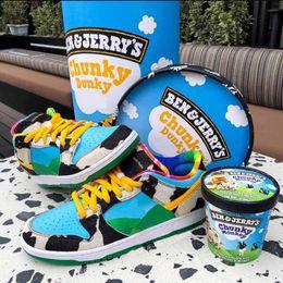 """Caixa de sorvete de leite Baixo Cilíndrico Pro QS """"Chunky Dunky"""" série Low-top clássico selvagem casual sapatos esportivos cilíndricos caixa de sapato em Promoção"""