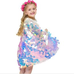 Girls Cotton Poncho Wholesale UK - Mermaid Cape Glittering Baby Girls Princess Cloak Colorful Sequins Boutique New Halloween Party Cape Costume cosplay props
