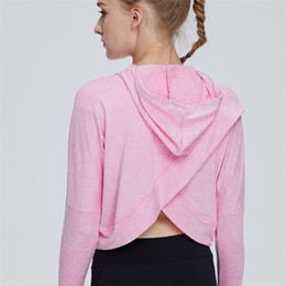 Wholesale cropped top hoodie resale online - Women Sports Fitness Workout Long Sleeve Sexy Crop Top Shirt Hoodie Drawstring Loose Running Pullover Sweatshirt