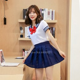 costume cosplay skirt red Canada - School Uniforms Woman School Uniforms Sexy Collage Student Sailor Party Cosplay Costume Japanese Short Sleeve JK Suit Girls Pleated Skirt