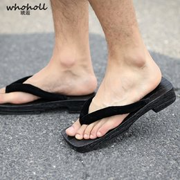 65f4df89387 WHOHOLL Geta Summer Sandals Man Japanese Geta Cos Casual Wooden Shoes  Slippers Antiskid Clogs Flip-flops Man Platform Black Sole