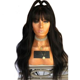 Discount full lace wigs baby bangs - Glueless Body Wave With Bangs Lace front and Full lace Wig Brazilian Human hair Wigs With Baby Hair Natural Color For Bl