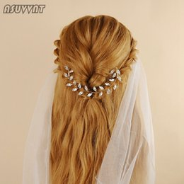 hair accessories for elegant parties 2019 - Elegant Bridal Wedding Hair Accessories Headband Clips Hair Comb With Crystal Beaded Jewelry Gift For Women Girl Party D