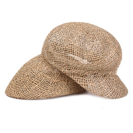 Beach Visors For Women UK - Summer Handmade Straw Berets Hats for Men and Women Outdoor Breathable Sun Visor Cap Sunhat Lafite Beach Hat for Holiday