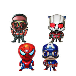 Chinese  Small Kids Birthday Party Decoration Idea 4 Avengers Mylar Balloons Toy Super Hero Captain America Superman Cute Cartoon Balloons A51003 manufacturers