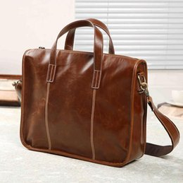 Discount stitching horse leather Factory wholesale men handbag new retro crazy horse leather men handbag horizontal stitching decorative business briefca