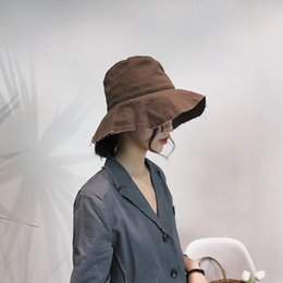 Foldable Flats Wholesale Australia - [Super Seabob] 2019 Spring Summer Woman Temperament New Stylish Khaki Color Flat Foldable Fisherman Sun Hat All Match LM190