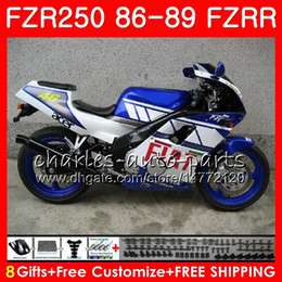 yamaha blue Australia - Body For YAMAHA FZRR 250 FZR 250R FZR 250 white blue hot 1986 1987 1988 1989 123HM.62 FZR250RR FZR250R FZR-250 FZR250 86 87 88 89 Fairing