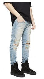 Ripped denim 80s brand high-grade casual pants Brand men fasion holes cotton linen slim long male jeans dropshipping big size