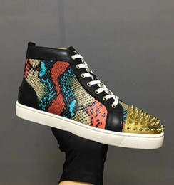 Discount high fashion sneakers gold glitter 2019 Fashion Red Bottom High Top Women,Men Shoes Spikes Sneakers Shoes, Designer Rivets Flat Walking Shoes,Dress Party W