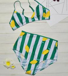Green Swimsuits Australia - High Waist Bikini Swimwear Push Up Sexy Swimsuit Women Fashion Slim Bathing Suits Lemon green striped Beach Wear