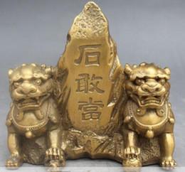 Lion foo fu dog statue online shopping - Art Bronze Decoration Crafts Brass Chinese Brass Copper Fengshui Brass Foo Fu Dog Guardian Lion Eight Diagrams Statue