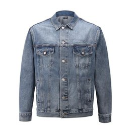 famous outwear UK - Famous Mens Designer Denim Jacket Men Women High Quality Casual Coats Black Blue Fashion Mens Jacket Stylist Outwear Size s-XL
