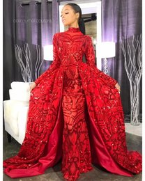 $enCountryForm.capitalKeyWord Australia - 2019 Red Sequins Mermaid Prom Evening Dresses Sparkly Long Sleeve Formal Party Gown Detachable Train Plus Size Pageant Dress Custom Made