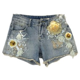 78ed2f9ad7 3D Flower Summer Denim Shorts Vintage Ripped Hole Women Casual Jeans Shorts  2019 Summer Girl Hot Fashion Sexy Beading