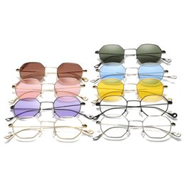 square size goggles Australia - New 9colors Classic Men Women Hexagon Square Sunglasses Metal Eyewear Fashion Shades Outdoor