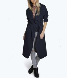Wholesale trench coat women xxl for sale - Group buy 2019 Winter Coat Women Wide Lapel Belt Pocket Wool Blend Coat Oversize Long Solid Trench Outwear Wool Color M Xxl