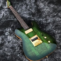 Pearl hardware online shopping - In Stock ACEPRO Green Spalted Maple Electric guitar w piece Mahogany Abalone dots inlay Gold Hardware White Pearl Tuners