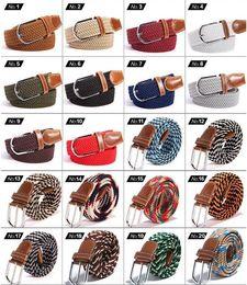 Weaved leather belt online shopping - Unisex Canvas Woven Elastic Leather Pin Buckle Waist Belt Stretch Waistband Canvas Pin Buckle Belt Braided Elastic Belt CCA11245