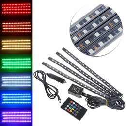 music strips Australia - Car Styling 9 12 18 SMD Car Interior Floor RGB LED Strip Light Lamp Kit With Remote Music Control For Decoration