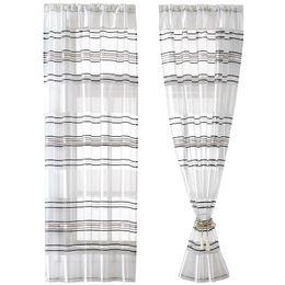$enCountryForm.capitalKeyWord Australia - Modern Simple Horizontal stripes Silver wire Gauze Living room Door Window Curtain Panel