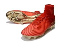 Cr7 Ronaldo Boots Australia - 2019 Original Red Gold Children Soccer Cleats Mercurial Superfly CR7 Kids Soccer Shoes High Ankle Cristiano Ronaldo Womens Football Boots