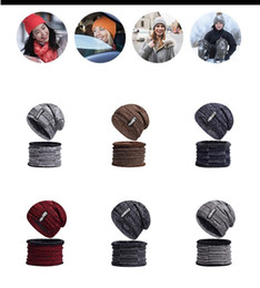 Cashmere beanies online shopping - Autumn And Winter Keep Warm Hat Men Cashmere Letter Knitted Cap Collar Two Piece Suit Pure Color Beanies Hot Sale jx I1